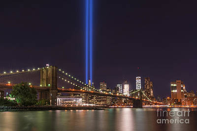 911 Memorial Photograph - Brooklyn Bridge Tribute In Lights  by Michael Ver Sprill