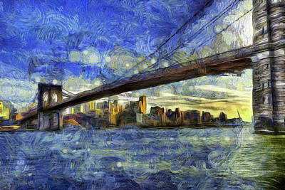 Photograph - Brooklyn Bridge Van Gogh by David Pyatt