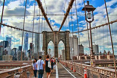 Photograph - Brooklyn Bridge Walkway by Allen Beatty