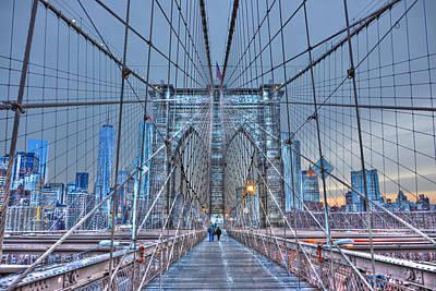 Anne Geddes - Brooklyn Bridge Walkway at Dusk by Randy Aveille