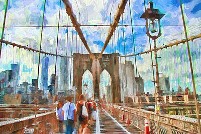 Photograph - Brooklyn Bridge Walkway - Digital Painting by Allen Beatty