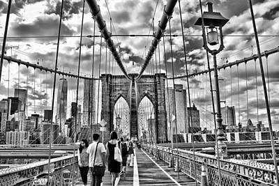 Photograph - Brooklyn Bridge Walkway   B  And  W by Allen Beatty