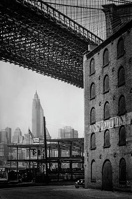 Structure Photograph - Brooklyn Bridge Water And Dock Streets 1930's by Visions of History