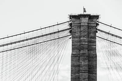 Photograph - Brooklyn Bridge With Stars And Stripes by SR Green