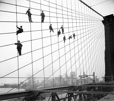 Bridge Painting - Brooklyn Bridge Workers by Celestial Images