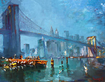 City Scape Painting - Brooklyn Bridge by Ylli Haruni