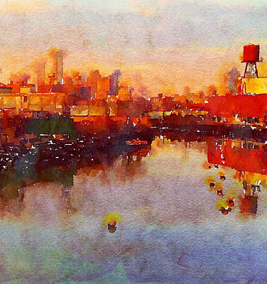 Green Painting - Brooklyn Canal At Dusk by Georgiana Romanovna