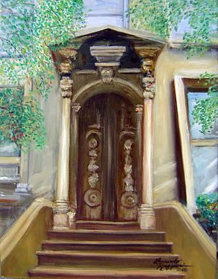 Brownstone Painting - Brooklyn Doorway by Leonardo Ruggieri