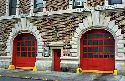 Photograph - Brooklyn Firehouse Double Doors 2001 by Frank Romeo