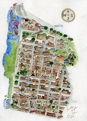 Painting - Brooklyn Heights Map by AFineLyne