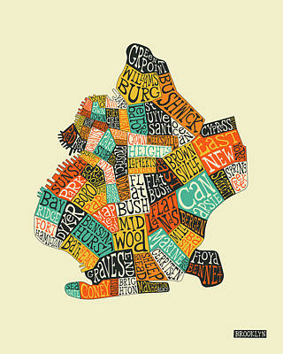 Typography Map Digital Art - Brooklyn Neighborhoods Map Typography by Jazzberry Blue