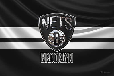 Brooklyn Nets - 3 D Badge Over Flag Art Print by Serge Averbukh