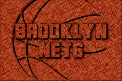 Brooklyn Nets Leather Art Art Print by Joe Hamilton