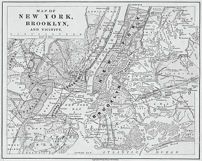 Photograph - Brooklyn Ny 1868 Map New York Ny Black And White by Toby McGuire