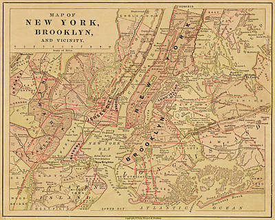 Photograph - Brooklyn Ny 1868 Map New York Ny Color by Toby McGuire