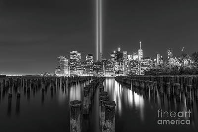 911 Memorial Photograph - Brooklyn Sticks September 11th Memorial Bw by Michael Ver Sprill