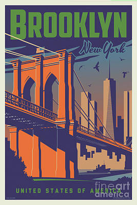 Digital Art - Brooklyn Vintage Travel Poster by Jim Zahniser