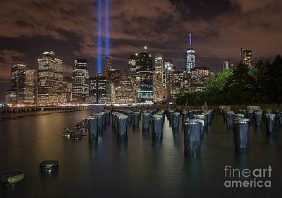 Photograph - Brooklyn Waterfront Memorial Tribute Lights by Alissa Beth Photography