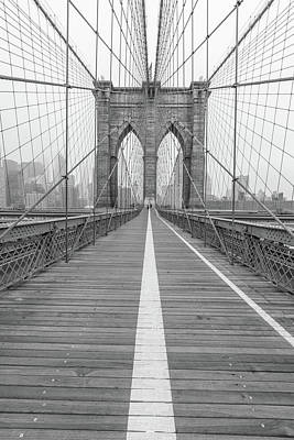 Photograph - Brookyln Bridge Nyc With Fog  by John McGraw
