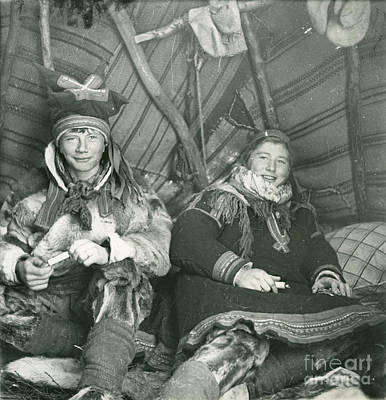 Painting - Brother And Sister In Their Tent On Finnmarksvidda by Celestial Images