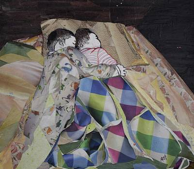 Little Girl Mixed Media - Brother And Sister by Roxana Rojas-Luzon
