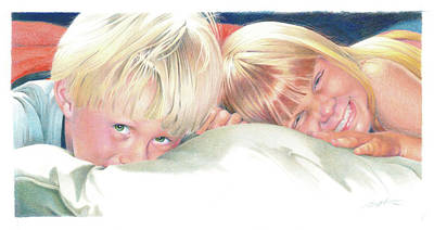 Sisters Drawing - Brother And Sister by Todd Baxter