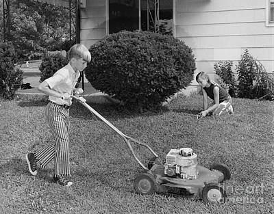Brother And Sister Working In Yard Art Print by H. Armstrong Roberts/ClassicStock