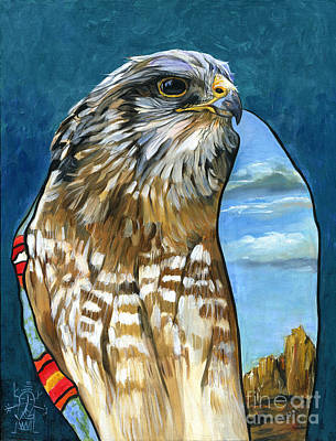 Falcon Mixed Media - Brother Hawk by J W Baker