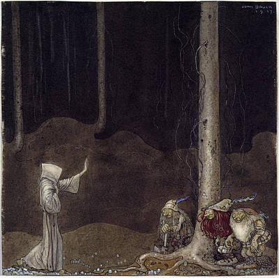 John Bauer Drawing - Brother Saint Martin And The Three Trolls by John Bauer