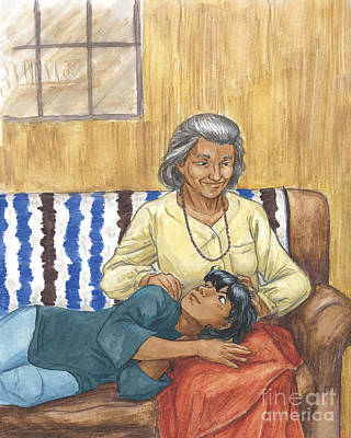 Painting - Brother Wolf - Grandmother's Lap by Brandy Woods