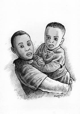 Lines And Dot Painting - Brothers by Anthony Mwangi