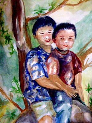 Brothers Bonding Art Print by Matthew Doronila