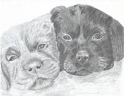 Brothers Art Print by DebiJeen Pencils