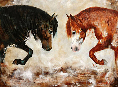 Painting - Brothers Hawk And Bo by Barbie Batson