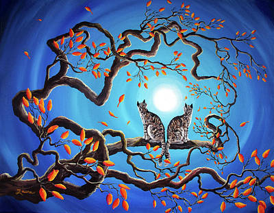 Fantasy Tree Art Painting - Brothers Under A Blue Moon by Laura Iverson