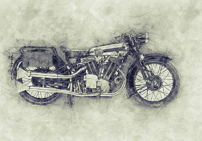 Mixed Media Royalty Free Images - Brough Superior SS100 - 1924 - Motorcycle Poster 1 - Automotive Art Royalty-Free Image by Studio Grafiikka
