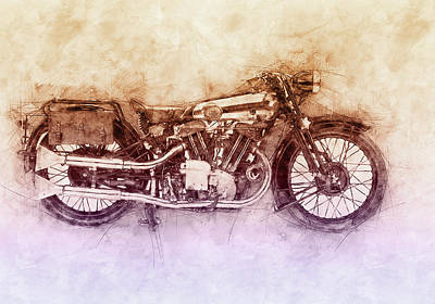 Royalty-Free and Rights-Managed Images - Brough Superior SS100 - 1924 - Motorcycle Poster 2 - Automotive Art by Studio Grafiikka