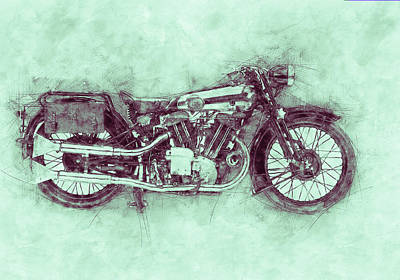 Royalty-Free and Rights-Managed Images - Brough Superior SS100 - 1924 - Motorcycle Poster 3 - Automotive Art by Studio Grafiikka