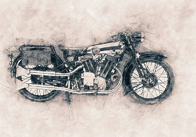 Mixed Media Royalty Free Images - Brough Superior SS100 - 1924 - Motorcycle Poster - Automotive Art Royalty-Free Image by Studio Grafiikka