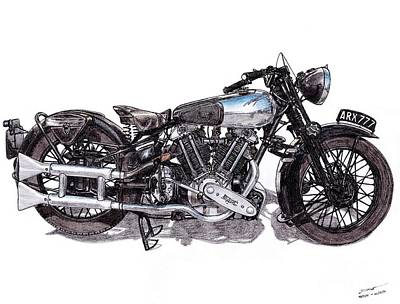 80 Drawing - Brough Superior Ss100 by Dan Poll