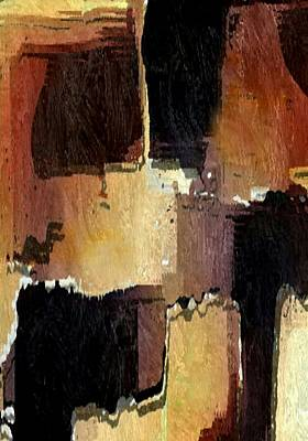 Brown Black Block Abstract Art Print by Delynn Addams
