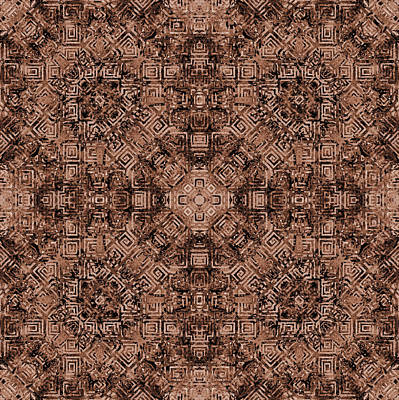 Burnt Digital Art - Brown Abstract Kaleidoscope by SharaLee Art