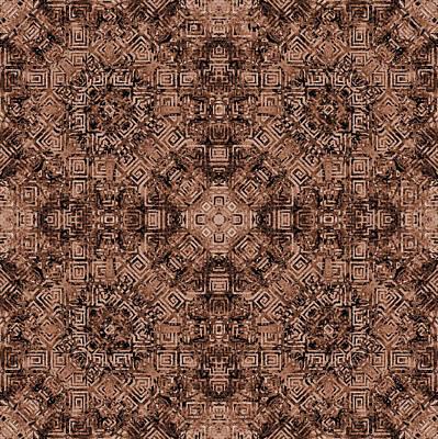 Burnt Umber Digital Art - Brown Abstract Kaleidoscope by SharaLee Art