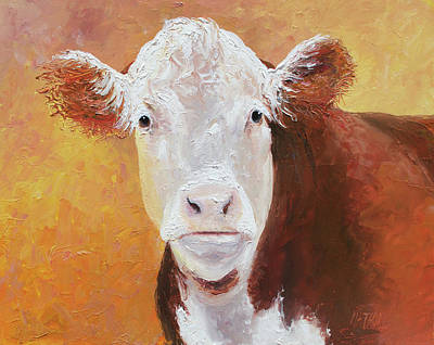 Brown And White Hereford Cow Painting Art Print