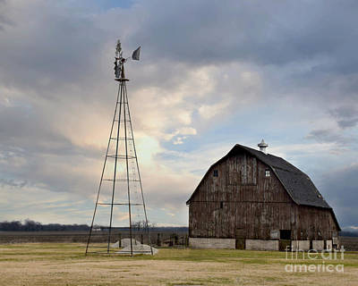 Photograph - Brown Barn And Windmill by Kathy M Krause