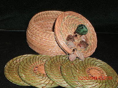 Pine Needle Baskets Sculpture - Brown Basket With Coasters by Russell  Barton