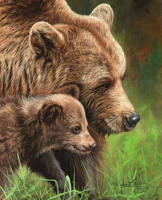 Painting - Brown Bear And Cub by David Stribbling