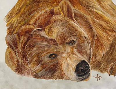 Bruins Painting - Brown Bear by Angeles M Pomata