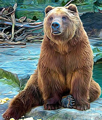 Grizzly Bear Mixed Media - Brown Bear Expressionist Effect by Rose Santuci-Sofranko