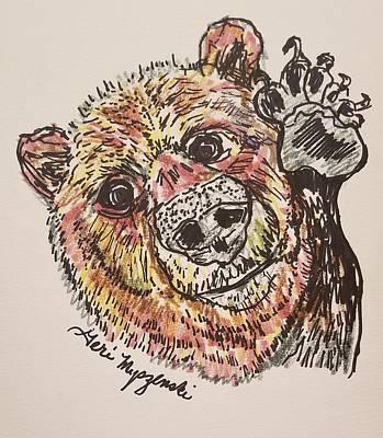 Red Roses - Brown Bear by Geraldine Myszenski
